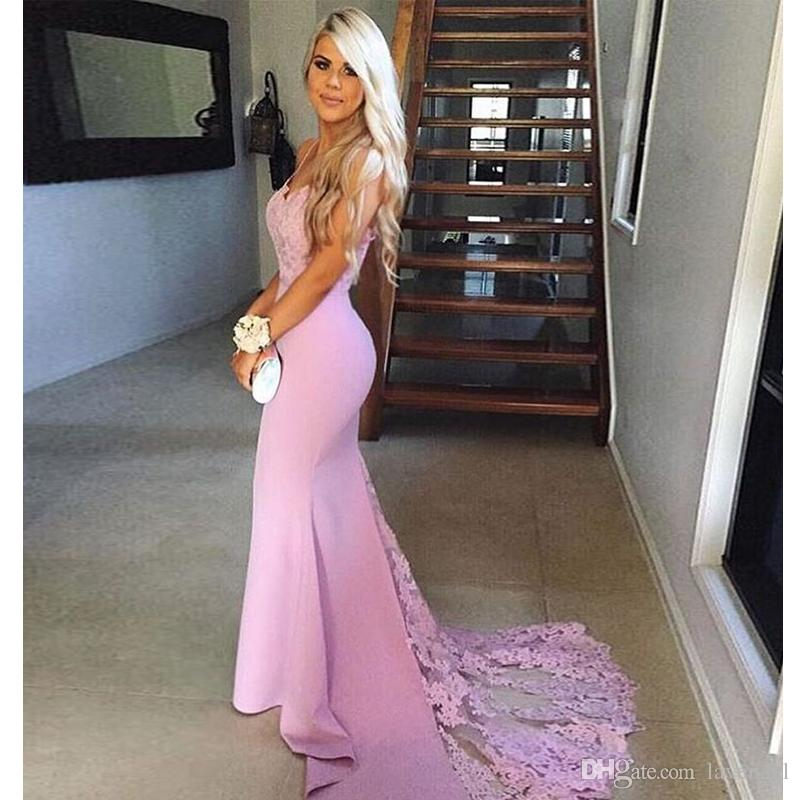 2018 Mermaid Speghatti Straps Prom Dress Pink Lace Appliques Evening ...