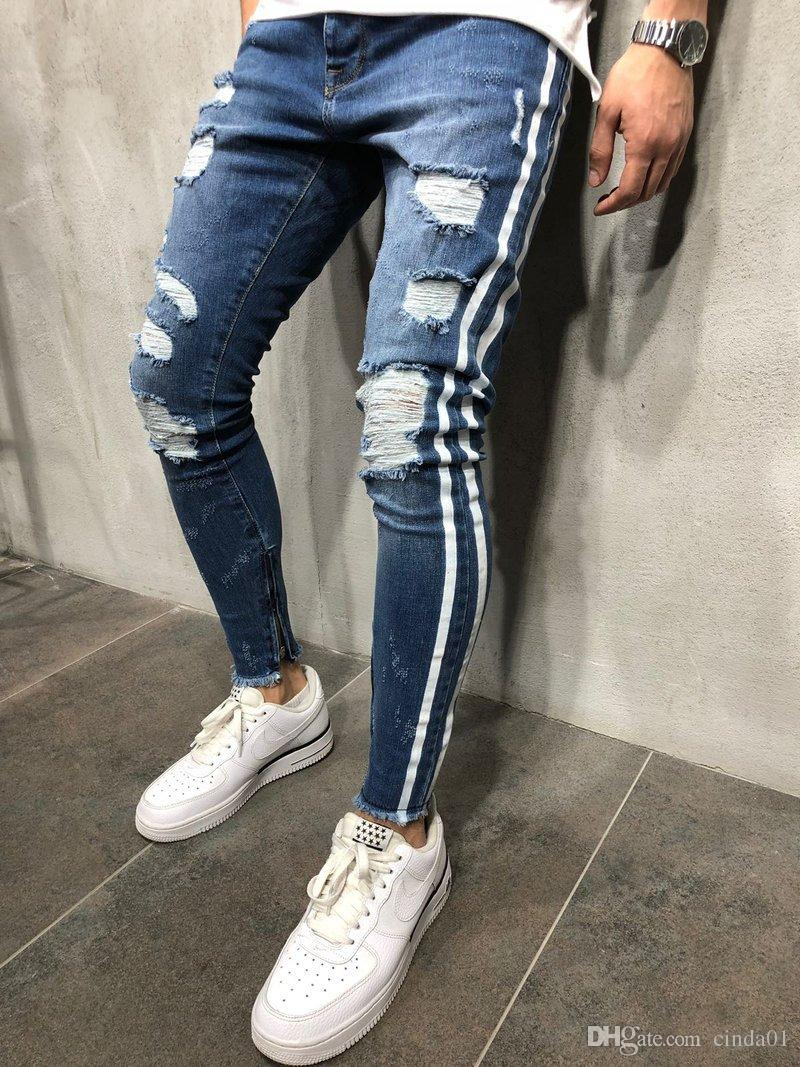 da4a1ff627e 2019 Mens Blue Denim Ripped Slim Fit Side Striped Jeans Male Skinny Pencil  Pants Casual Trousers With Zippers From Cinda01