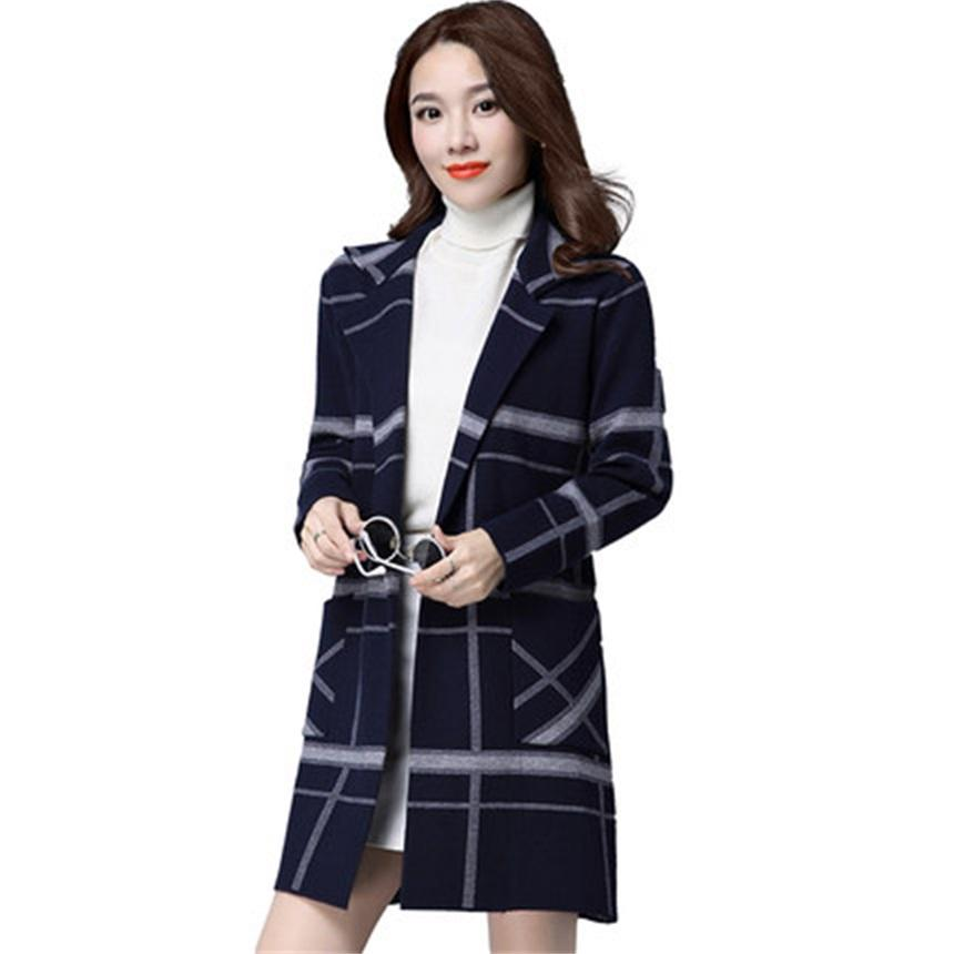 Spring And Autumn New Simple Fashion Knit Cardigan Jacket Large Size