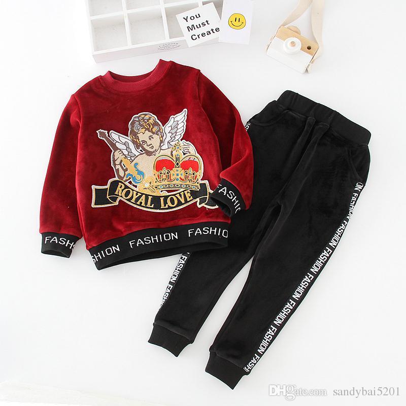 5ead79779 Kids Girls Boys Clothing Sets Infant Girl Boy Cartoon Sweatshirt + ...