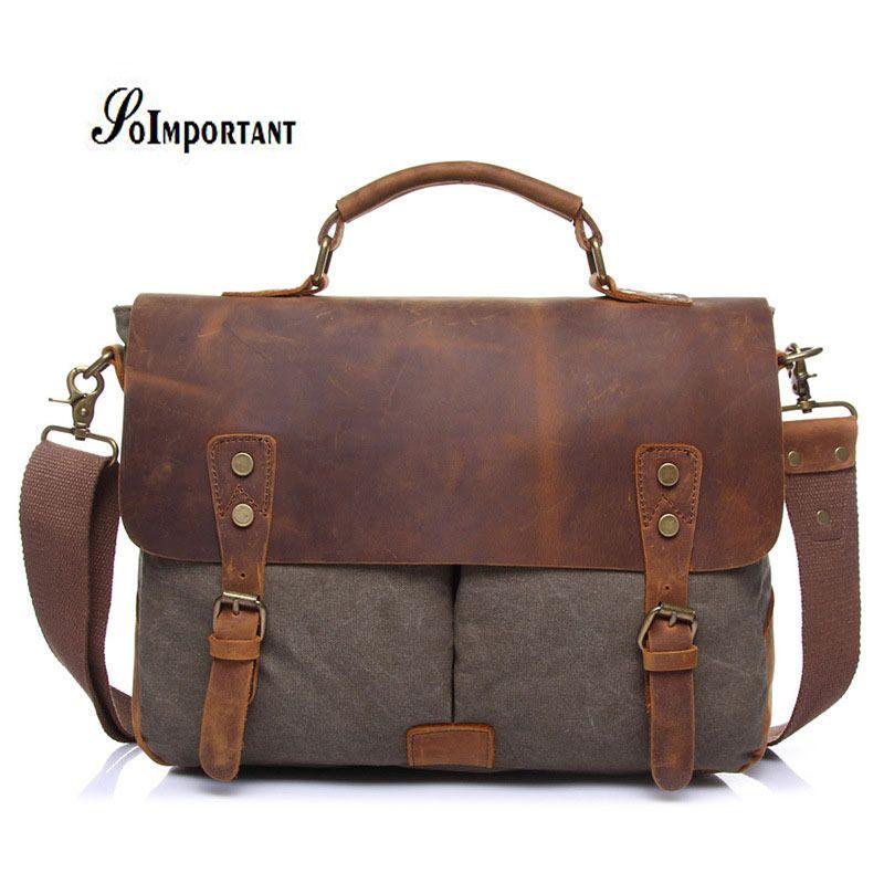 Vintage Genuine Leather Oil Wax Canvas Men Bags Male Laptop Tote Briefcases Crossbody  Bag Shoulder Handbag Travel Messenger Bag Branded Handbags Womens ... 5b4b5118a9