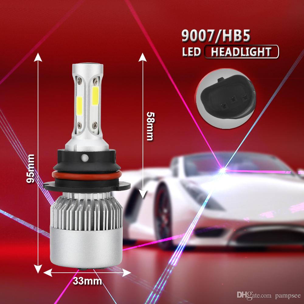 LED Car Headlight 9007 Hi-Lo Beam COB Auto Led Headlight Bulb 72W 8000lm 6500K Headlamp for Toyota Honda Nissan BMW Mazda