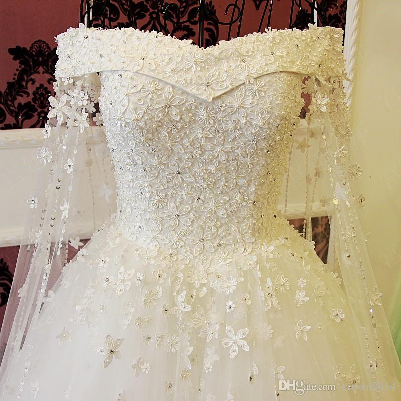 2019 Blu Off Abiti da sposa spalla con staccabile Capo rilievo Perle di Applique Elegante Lace Up Back Abiti da sposa Real Photo