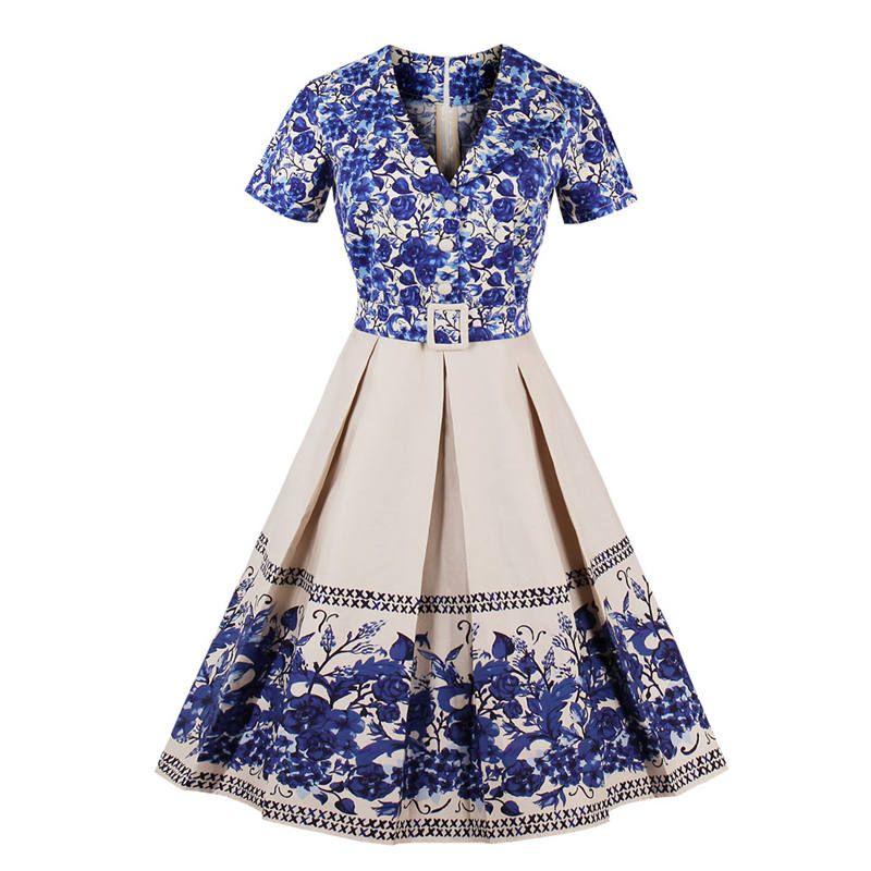 791f6aae6acd 2018 Womens Blue And White Porcelain Print Summer Dress Elegant Ladies  Retro Vintage 50s Short Sleeve Party Swing Dresses S 4XL Ladies Cocktail  Dresses ...