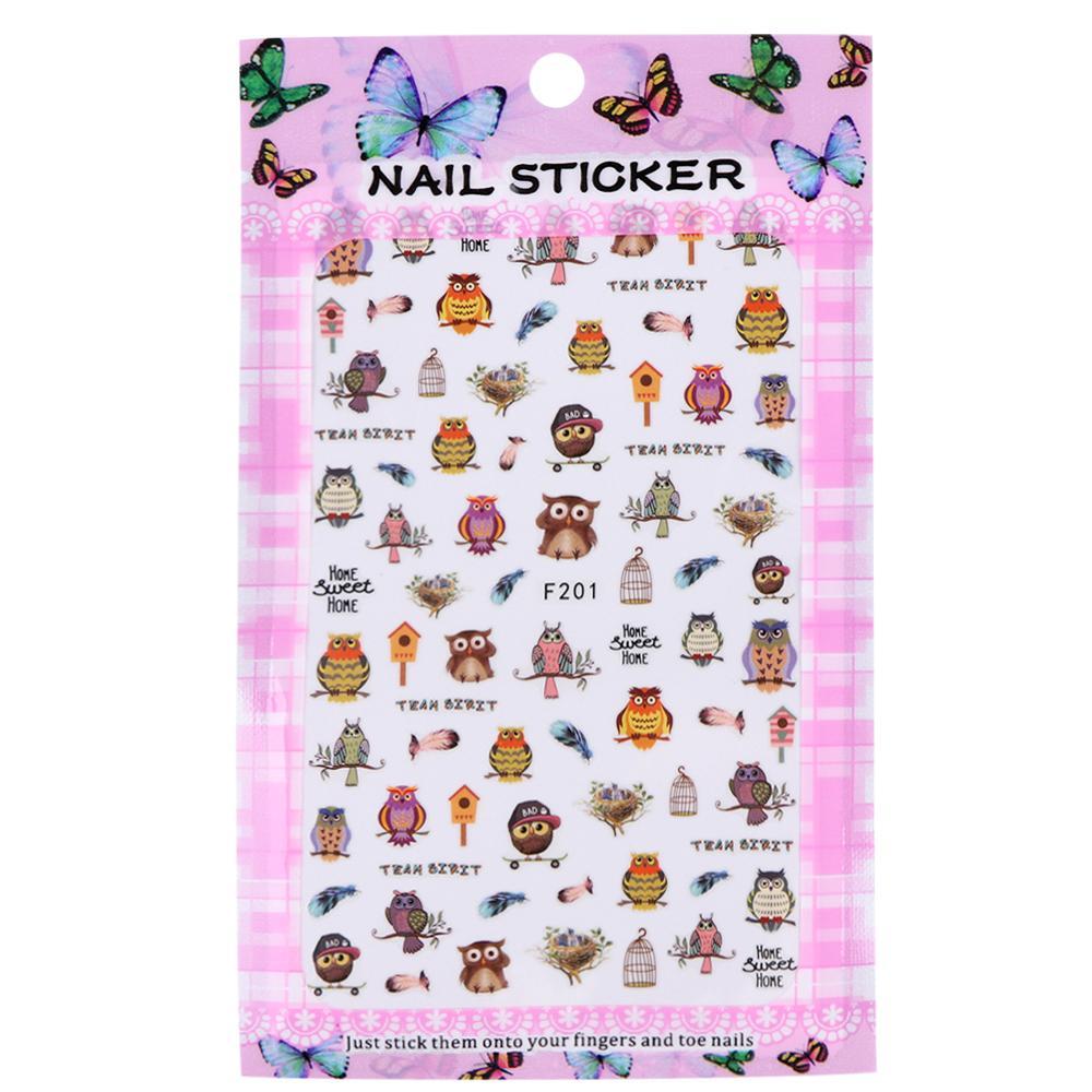 Transfer Full Beauty 3d Cute Designs Nail Art Brown Owl/Bird/Feather ...