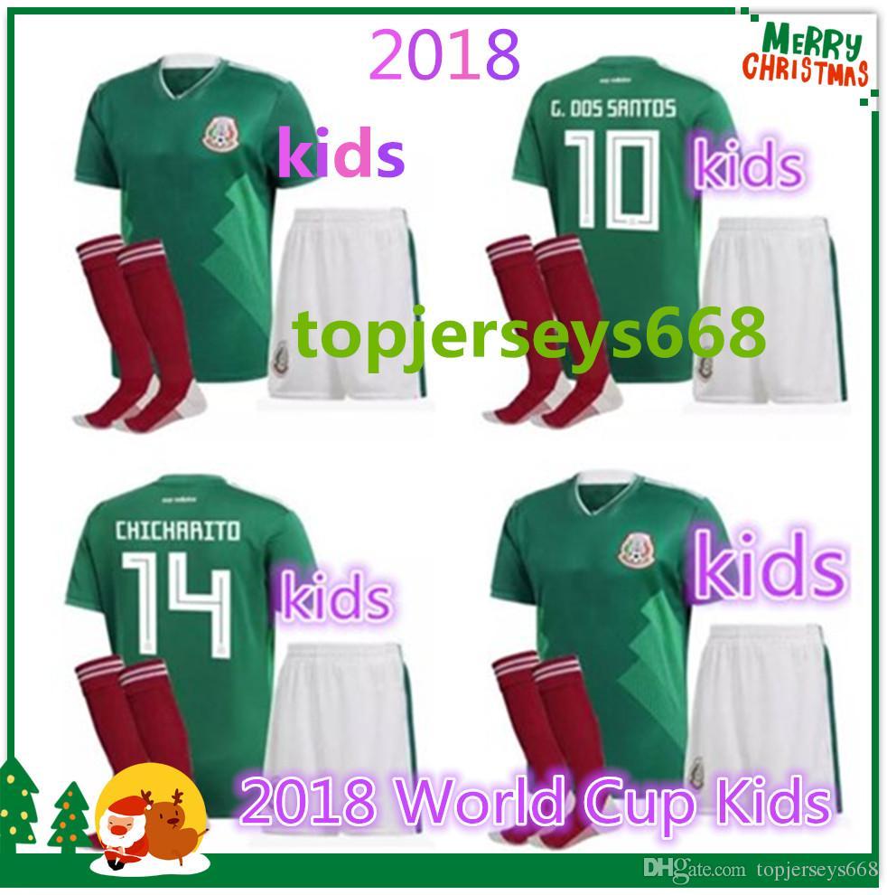 9122f533f Mexico BOYS 2018 Football Jersey Kid Kit Home Green 18 19 CHICHARITO ...