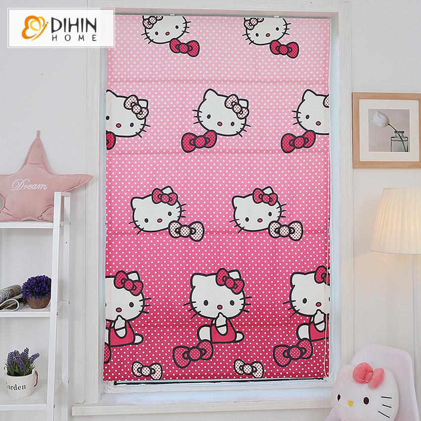 2018 Pink Cartoon Printing Blackout Curtains For Living Room Roman ...