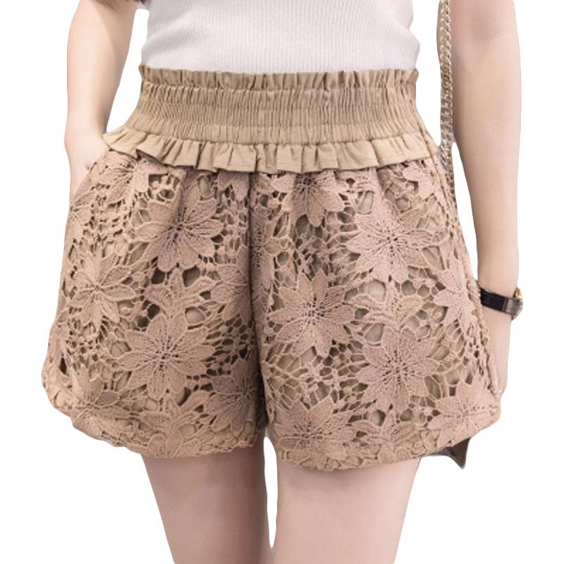 2019 2018 Spring Summer Women Lace Shorts Crochet High Waist Midi