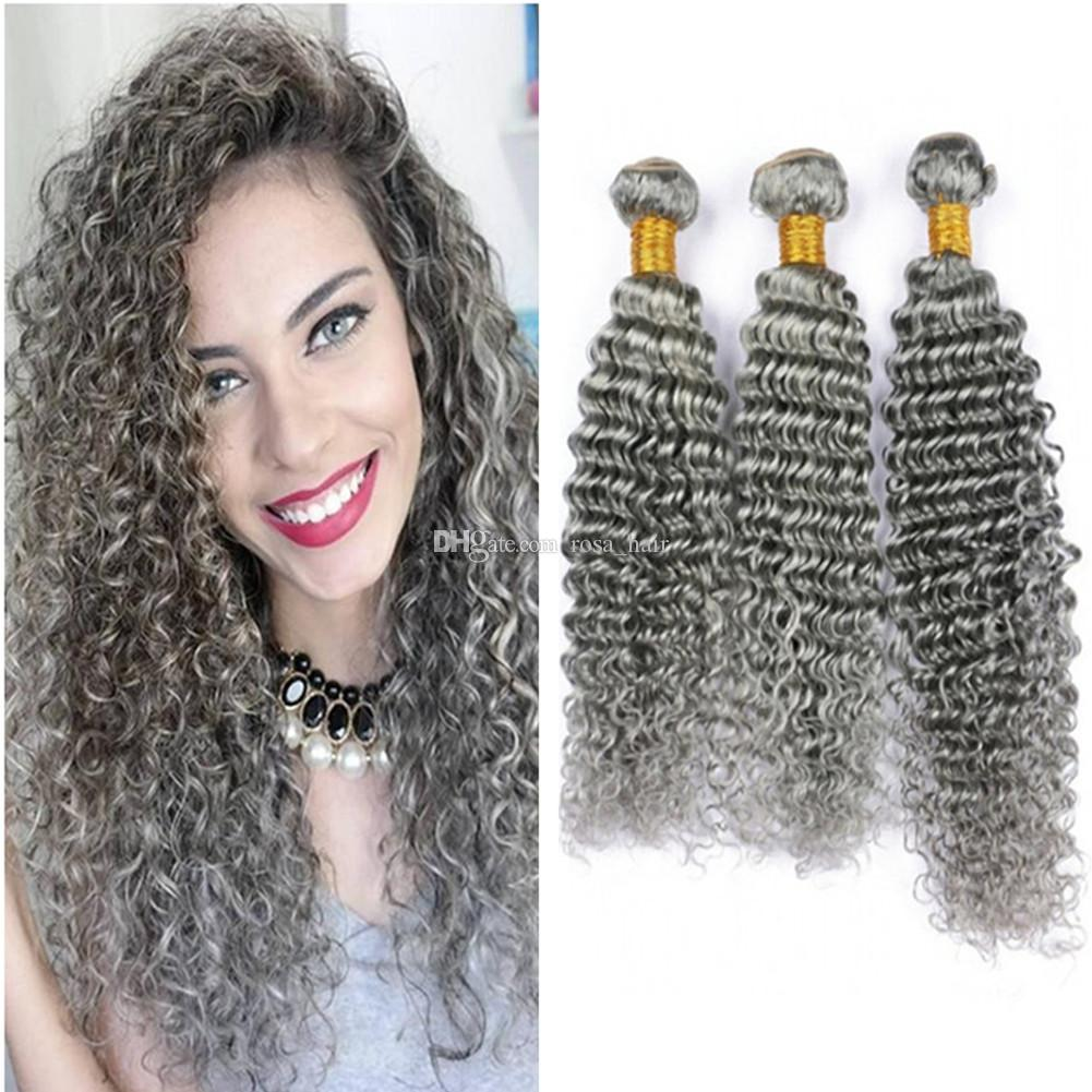 Hot Sale Silver Grey Hair Extensions Human Grey Hair Weave 100gpc