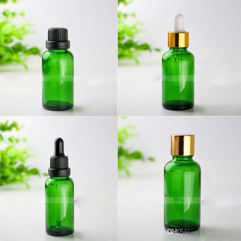 Most Popular 30ml Green Glass Dropper Bottles 1OZ Empty Glass Bottles With Black Silver Gold Caps Cosmetic Bottles 30ml