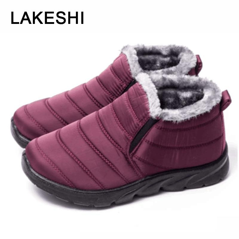 4d450f9bf8c1 LAKESH Winter Snow Boots Waterproof Women Winter Shoes Ankle Boots Warm Fur  Inside Antiskid Bottom Keep Warm Mother Casual Fly Boots Skechers Boots  From ...