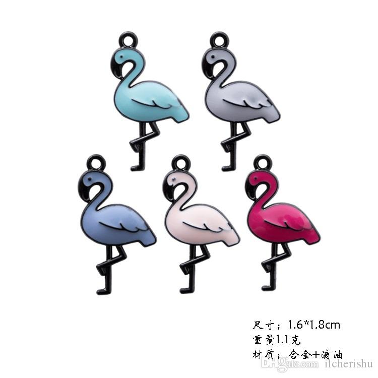 Mix Enamel Flamingo charms and pendants jewelry accessories, DIY manual hair material mobile phone shell stick Swan alloy fittings