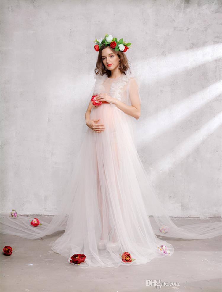 Maternity Dresses 2018 Fashion Maternity Photography Props Pregnant Dress Round neck Bohemian Style Party Dresses One Size Ball Gown Dress