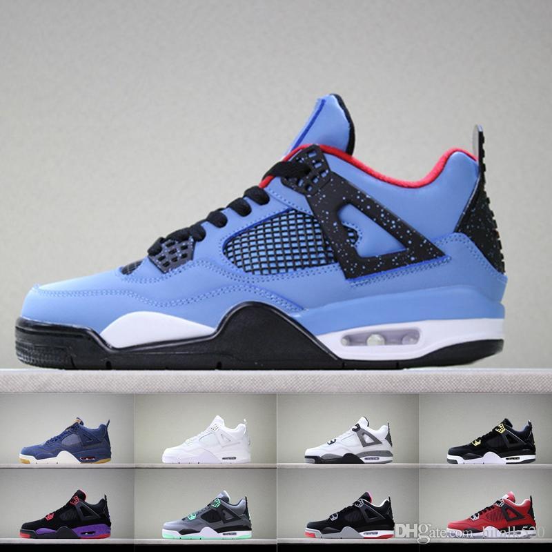 cab005b10b2008 4 Cactus Jack Raptors Jeans Blue White Black KAWS Encore Men 4s Basketball  Shoes Athletic Sport Sneakers Mens Retro Zapatos Trainers Size 13 Women ...