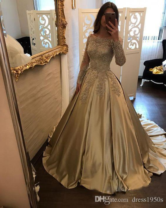 2018 Ouro Appliqued Vestidos de Baile de Manga Longa Rendas Festa À Noite Vestidos de Lantejoulas Cetim Bateau Pageant Vestidos Red Carpet Dress Custom Made