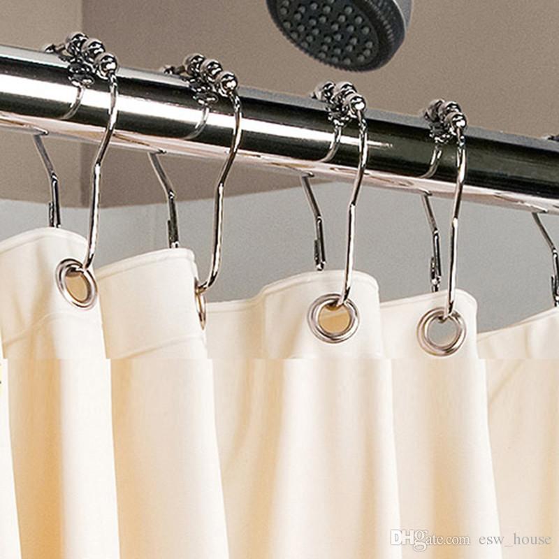 새로운 스테인레스 스틸 커튼 후크 목욕 롤러 볼 샤워 커튼 글라이드 링 편리한 홈 욕실 액세서리 무료 배송