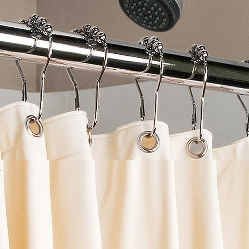 Ganchos de Cortina de Aço inoxidável Banho de Rolo de bola Cortinas de Chuveiro Glide Anéis de Casa Conveniente Acessórios Do Banheiro Frete grátis