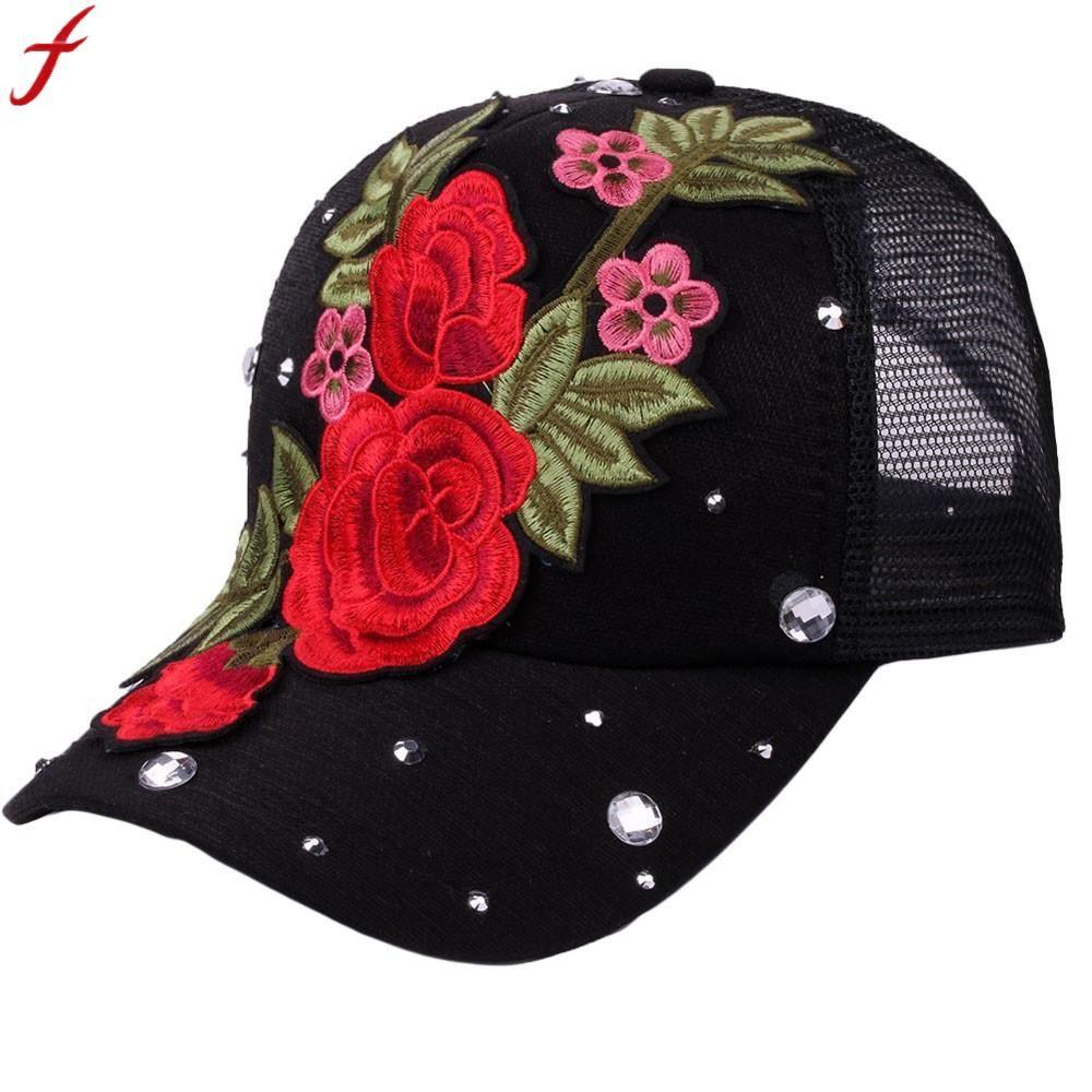5d8eb240a08 Embroidery Flower Baseball Mesh Cap 2018 Summer Korean Rose Rhinestone  Adjustable Snapback Hat For Men Women Gorros Hombre Baby Caps 47 Brand Hats  From ...