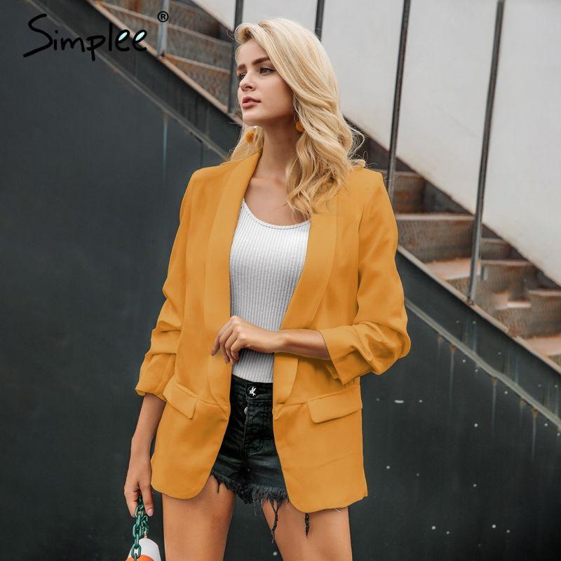 e779040054f8b Acheter Simplee Jaune Automne Dames Blazer Femmes Costume Veste Bureau Slim  Loisirs Blazer Manteau Style Uniforme Femmes Blazers 2018 Vêtements  D'extérieur ...