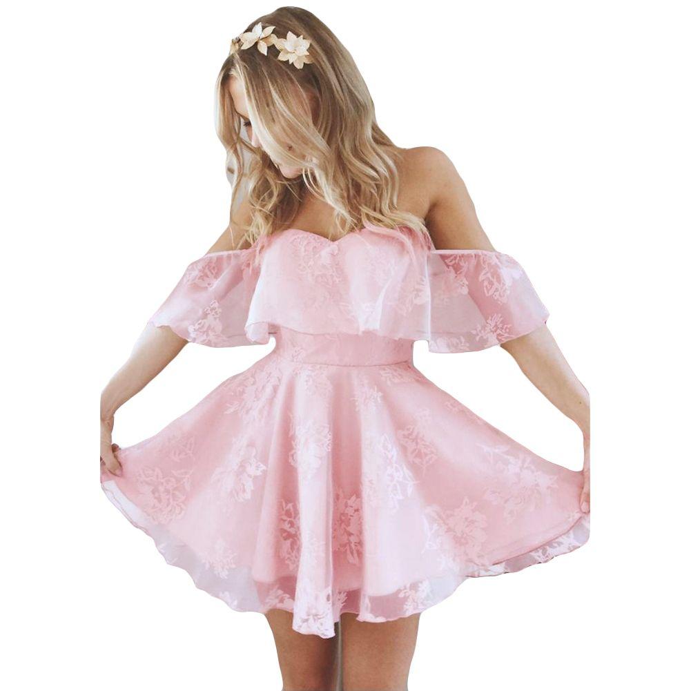 a177cf0df21c 2019 New Sexy Women Off The Shoulder Mini Dress Ruffles Mesh Jacquard  Backless Sleeveless Dress Elegant Vintage Dress Pink Black Dresses For  Women Long ...