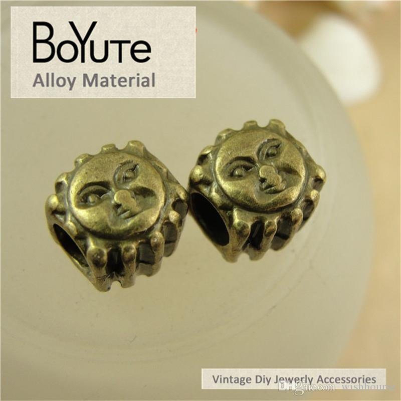 BoYuTe  10*10*10MM Antique Bronze Plated Zinc Alloy Vintage Sun Big Hole Metal Beads for Diy Accessories Jewelry Makings
