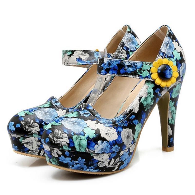 Imprimer Casual Plus Chaussures Plateforme Mode Taille Minces Femmes Sandales Hauts 48 La 31 Fleurs Talons À 7y6fgb