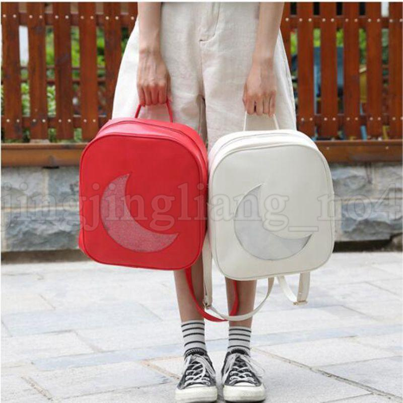 510ccc07d3c Fashion Summer Transparent Moon Shape Backpack Cute School Backpack  Shoulder Bags For Teenager Girls Mini Book Bag KKA5536 School Backpacks  Cool Backpacks ...