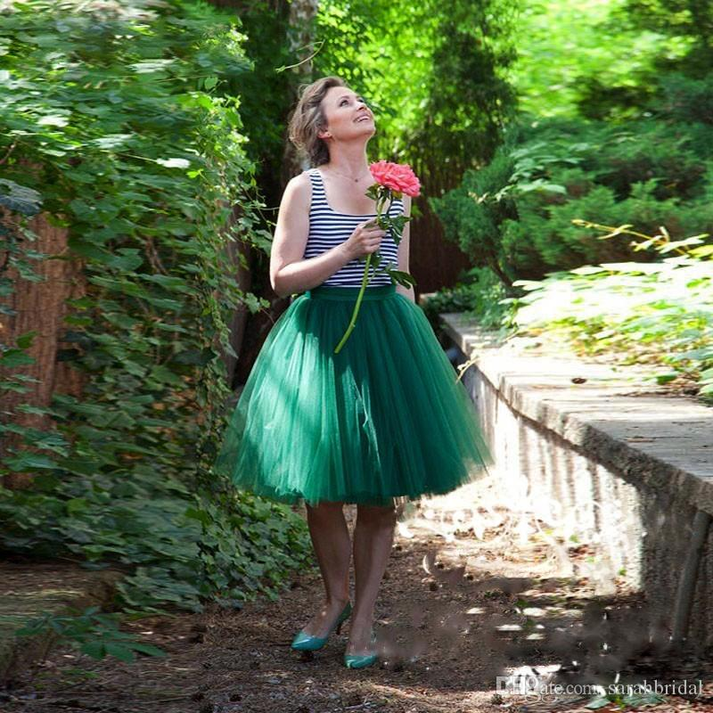 2019 Knee Length green Tulle Tutu Skirts for Adults Custom Made A-line Cheap Party Prom Petticoat Underskirts Women Clothing mother dress