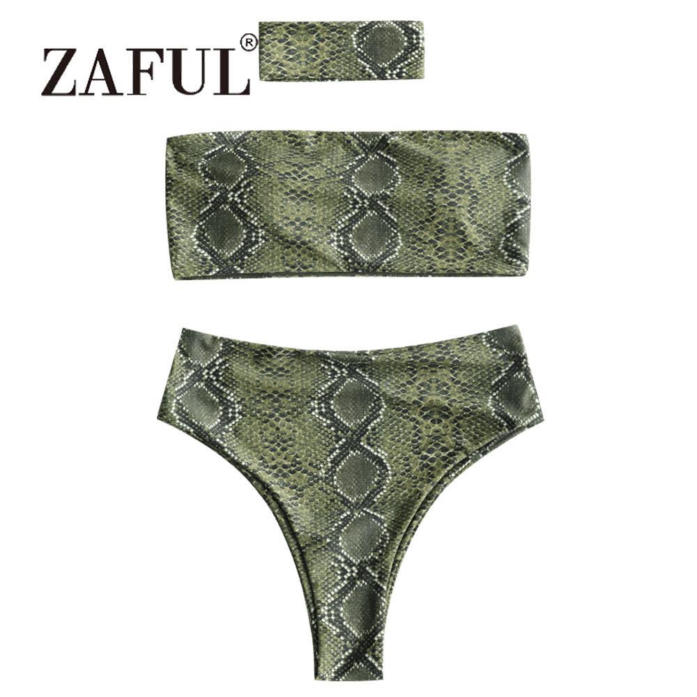 0b544ea444 Acheter Vente En Gros Bikini Serpent Sexy Imprimé Bandeau Bikini Avec Ras  Du Cou Femmes Maillot De Bain Sans Bretelles Taille Haute Maillots De Bain  Taille ...