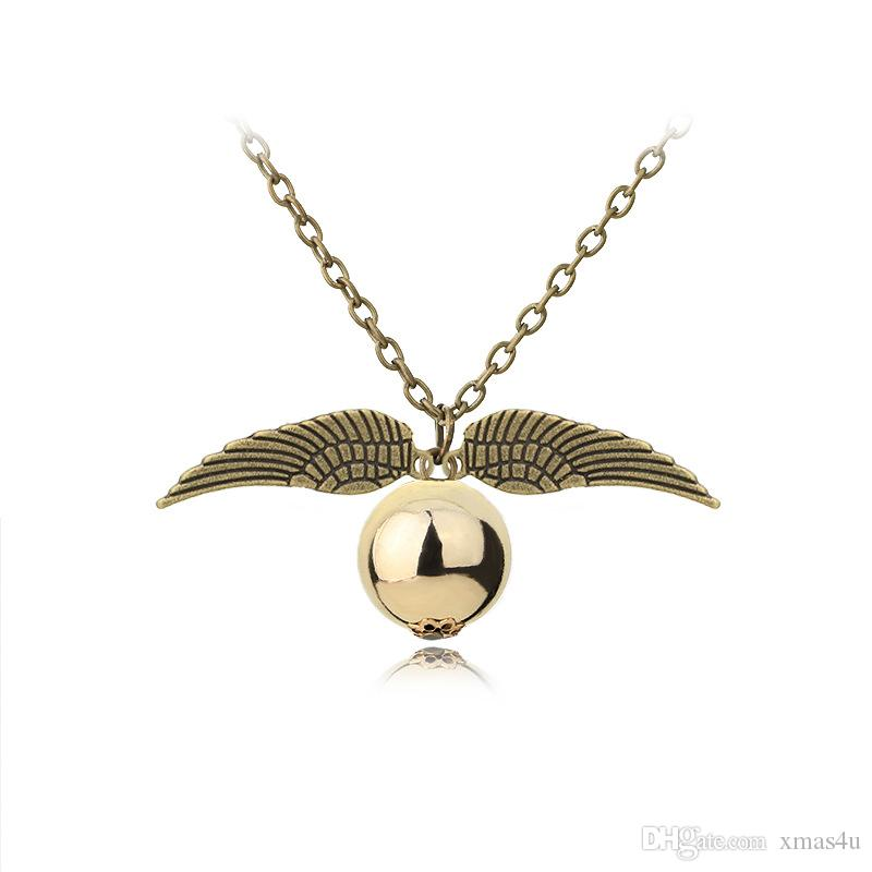 2 styles Fashion Harry P Necklace Men Women Vintage Style Angel Wing Charm Golden Snitch Pendant Necklace for Potter Movie Fans Accessories