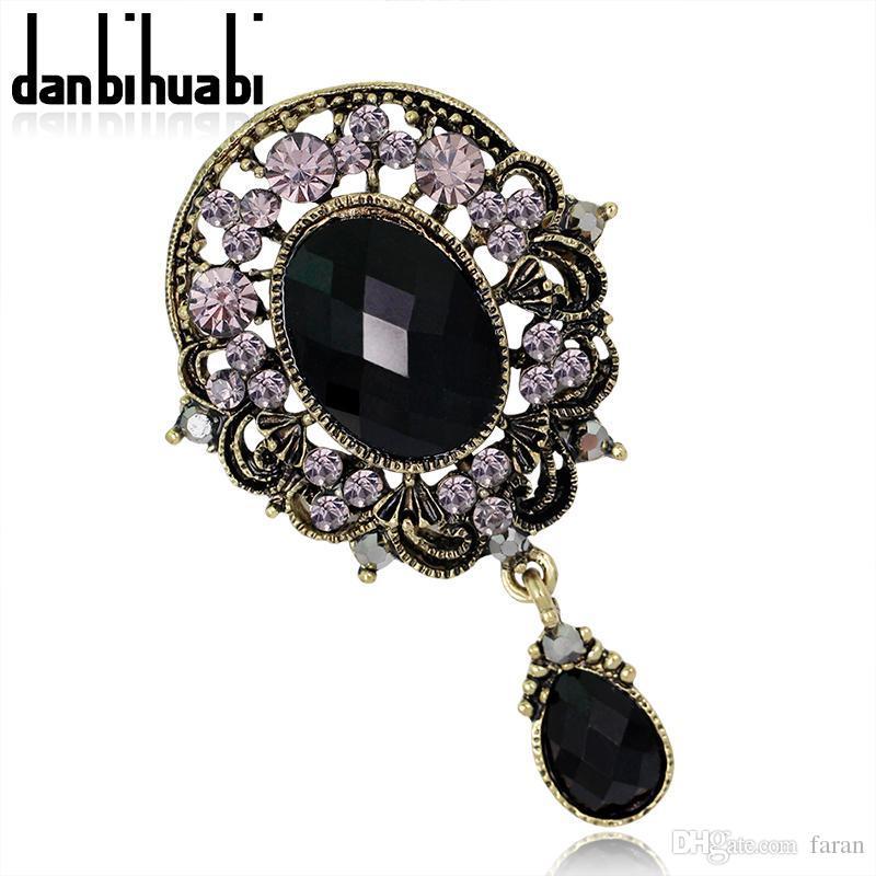 8a87566fbb9ca Wholesale- Top luxury Black big Brooch pins crystal Rhinestone conch  Brooches Classic Big Glass Crystal Acryl Wedding Brooch For Women