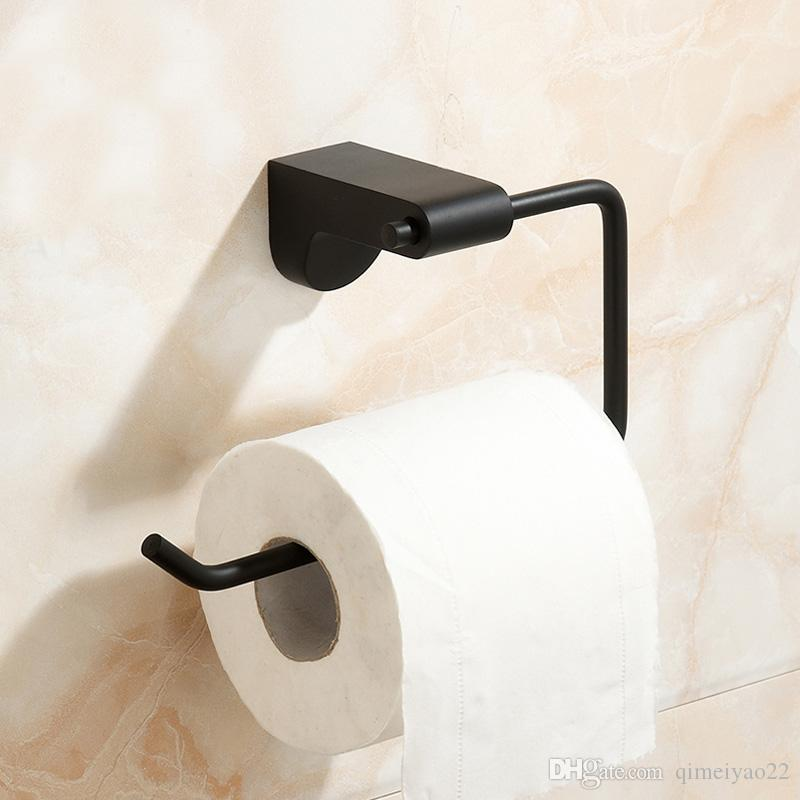 Nordic Antique Black Toilet Paper Holder Simple Rubber Paint No Cover Roller Holders Bathroom Tissue Shelf Hardware Pendant Paper Holder