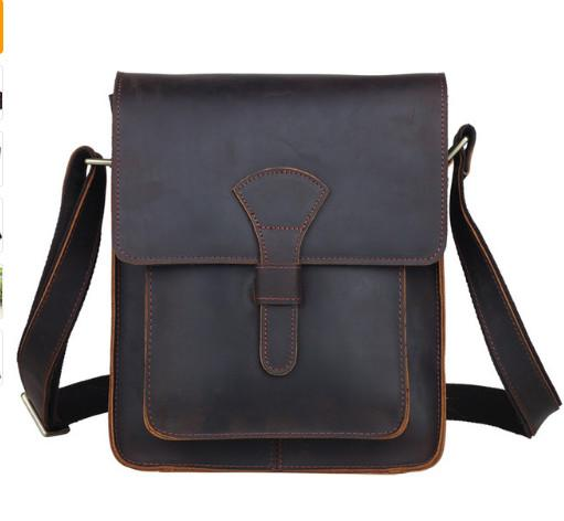a831264714 Men Genuine Leather Cross Body Messenger Bag Dark Brown Vintage ...