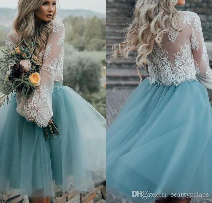 013f1c8a74c Lace Top Long Sleeves Two Piece Tulle Skirt Homecoming Dresses White Lace  Top With Tutu Skirt Knee Length Prom Dress Cheap Party Gowns Short Formal  Dresses ...