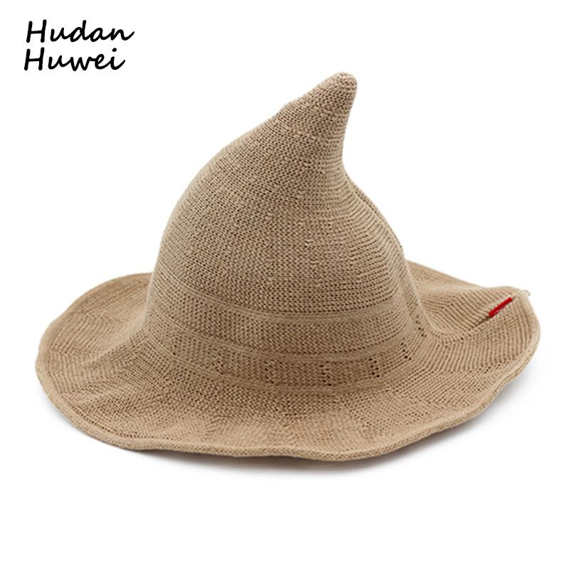 Women Ladies Cotton Witch Hats Wide Brim Knitted Wizard Hat Folding  Portable Bucket Hats Casual Fisherman Cap Chapeau for Female S18101708  Online with ... f531027c80be