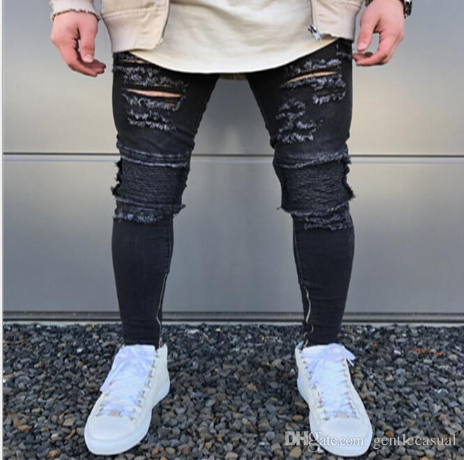 f332551ff6 2019 Spring Summer Rock Punk Jeans Mens Ripped Draped Kanye Jeans Holes  Design Clothing Long Pencil Pants From Gentlecasual, $46.29 | DHgate.Com