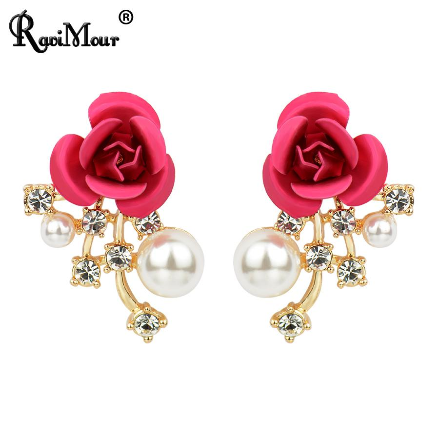 Created Pearl Pendientes Brincos for Women Fashion Gold Color Stud Earrings boucle grandes Jewelry Wedding Bijoux 2017