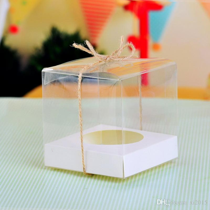 9X9X9CM Clear PVC Cupcake Box Muffin Cake Box with Paper Insert Party Favor Package Supplies W7361