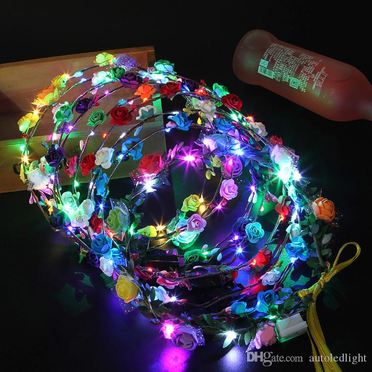 Girl's Hair Accessories Girl's Accessories Novelty Led Flashing Flower Headband Hairband Glowing Light Floral Wreath Hair Ornament Children Girls Toys Christmas Party