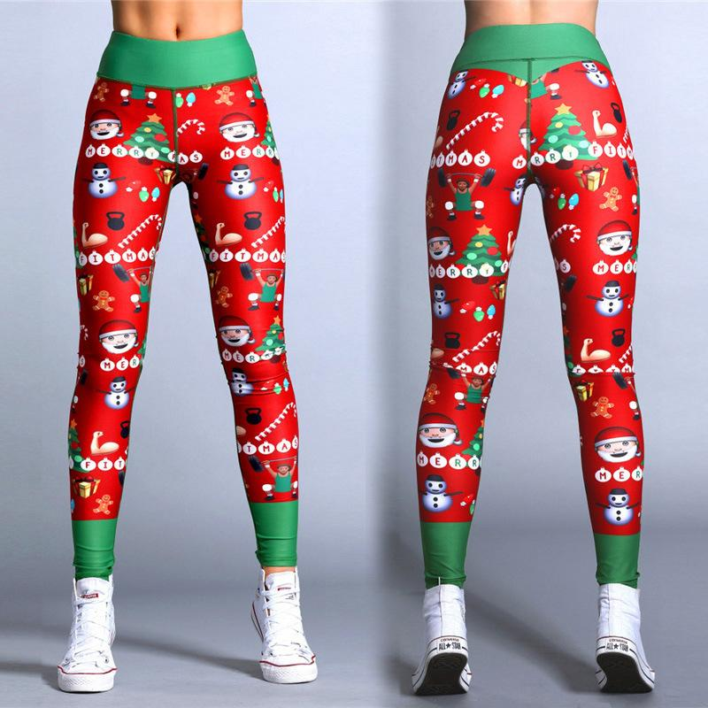 f7faeb68b623a2 2019 2018 Hayoha Christmas Printing Leggings Put Hip Elastic High Waist  Legging Breathable Merry Christmas Pants From Junmingger