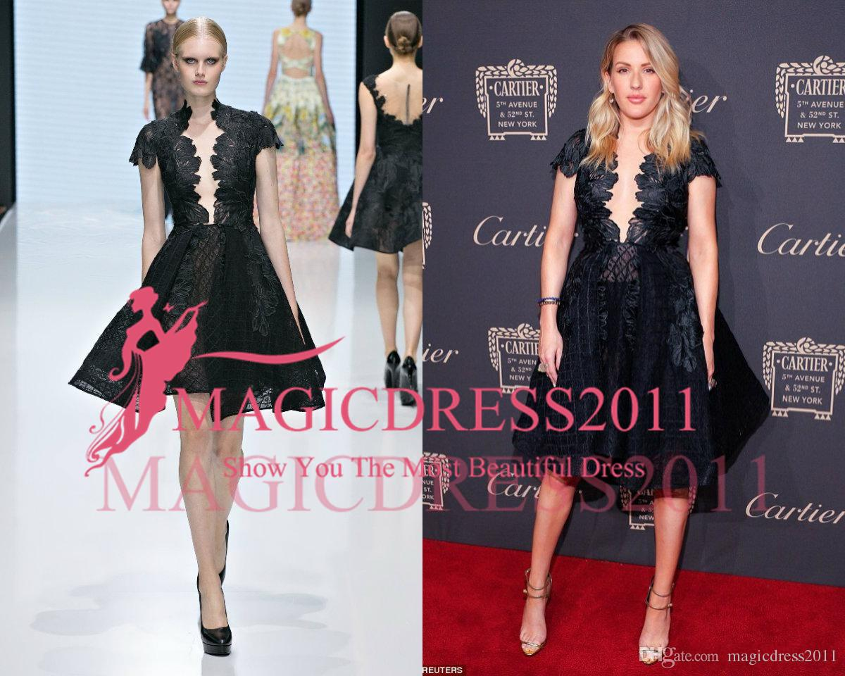 2018 Michael Cinco Celebrity Wear Black Deep V Neck Lace Applique Short  Sleeve Knee Length Evening Gowns Luxury Brand Formal Dress Prom Gown  Celebrities ... 753be04faa66