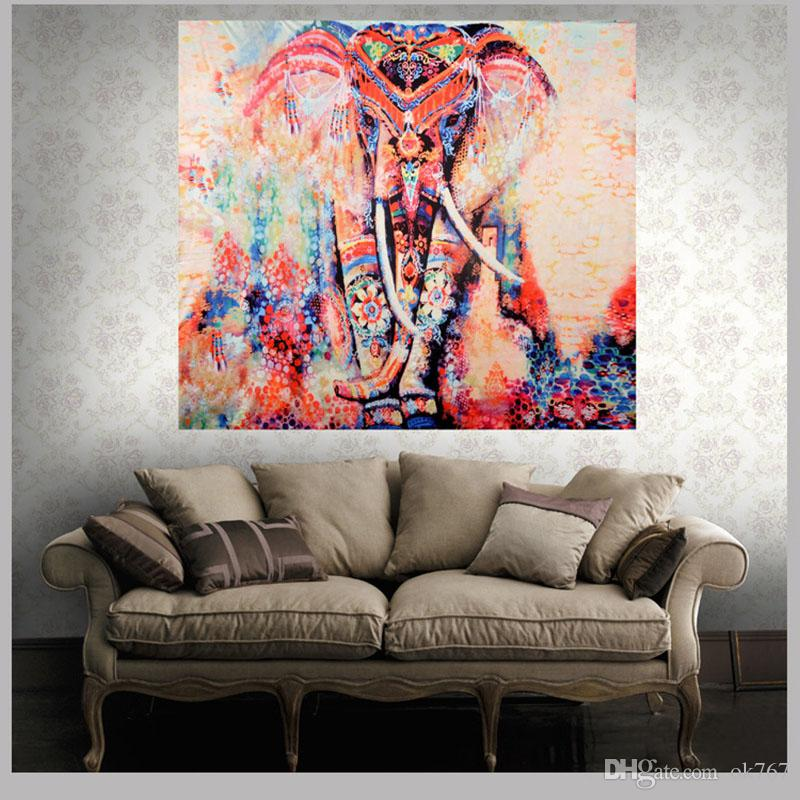 Folk Custom Tapestry Elephant Background Tapestry Mandala Yoga Home Cloth Beach Towel Living Room Decoration Wall decoration ECO Friendly
