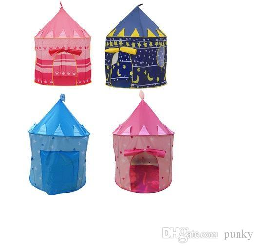 Free Shipping Children Beach Tent Prince and Princess Castle Children Playing Indoor Outdoor Toy Tent Game House 60Pcs