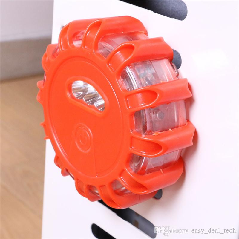 LED Road Flares Red Safety Flashlight Magnet Flashing Warning Lights Roadside Emergency Disc Beacon For Car Truck Boat Q0332