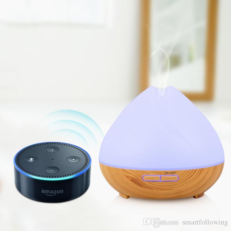 Umidificador de ar umidificador wi-fi inteligente umidificador difusor de óleo essencial 400 ml tanque de controle de voz Super silencioso compatível com 2.4G google home Alexa