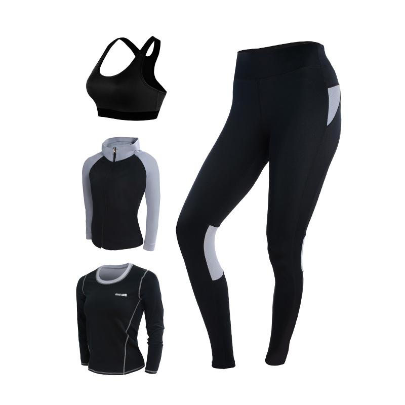 004ec2a78182f 2019 New Yoga Set Women s Gym Clothes Black Sport Bra+Pants+T Shirt+Coat  Fitness Running Sports Suit Breathable Sport Leggings From Comen