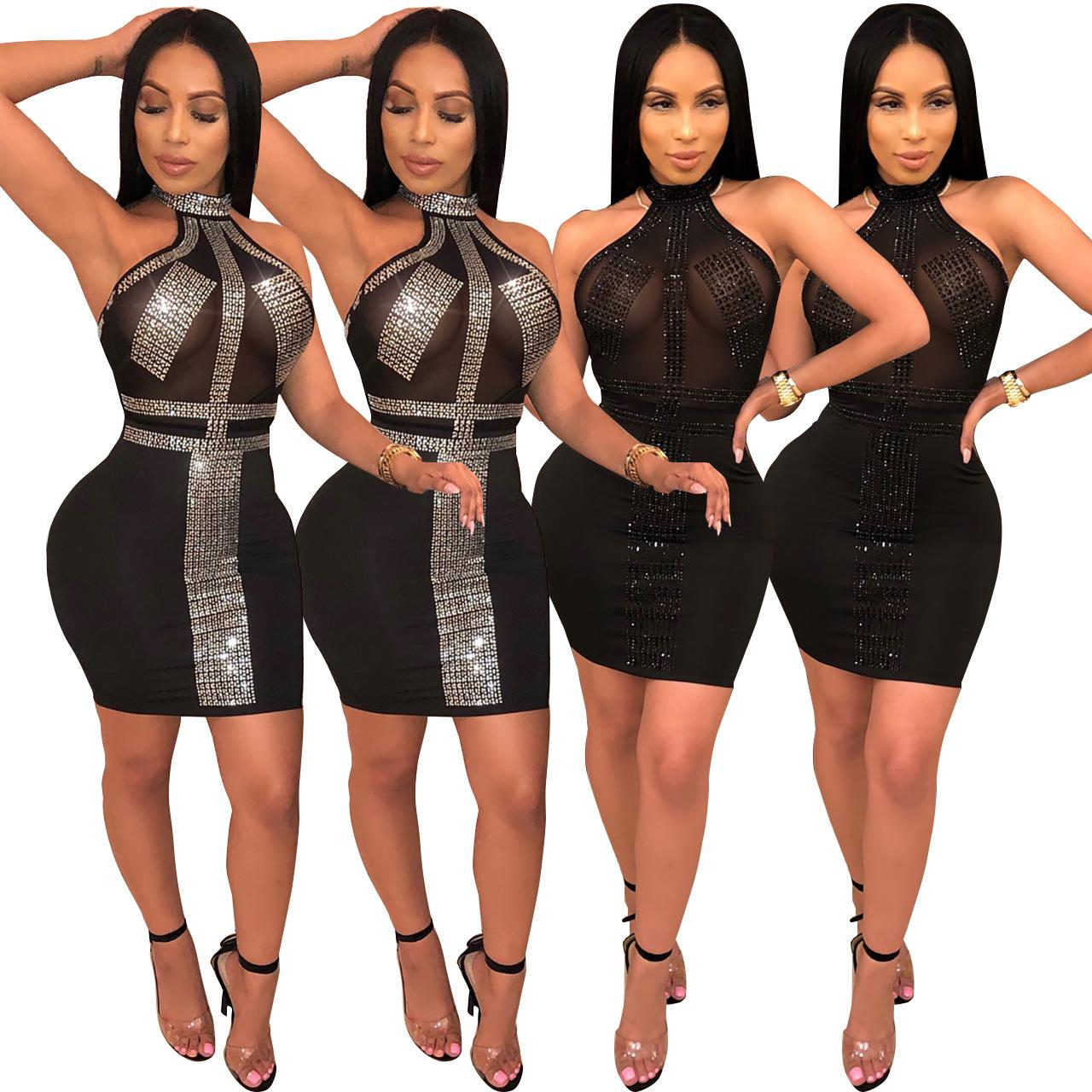 Party Dresses Nightclub Rhinestone Dress Sexy Black Sheer Gauze Geometrical Pattern Halter Sleeveless Zip Mini Club Bodycon Dress
