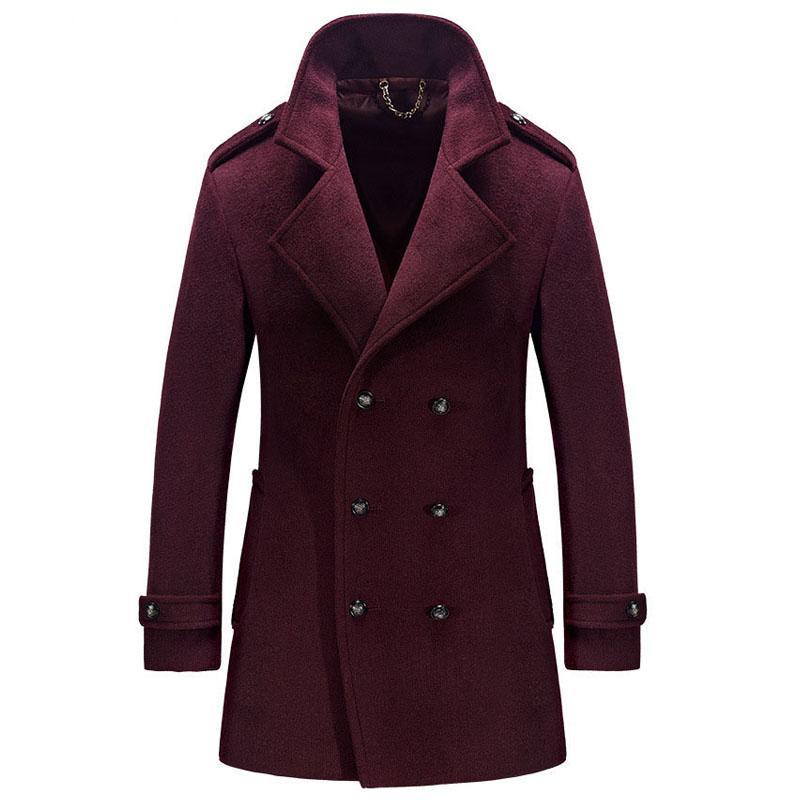 Winter Woolen Long Mens Overcoat Wool Blend Casual Double Breasted Men Peacoat Windbreaker Trench Coat Jackets casaco masculino