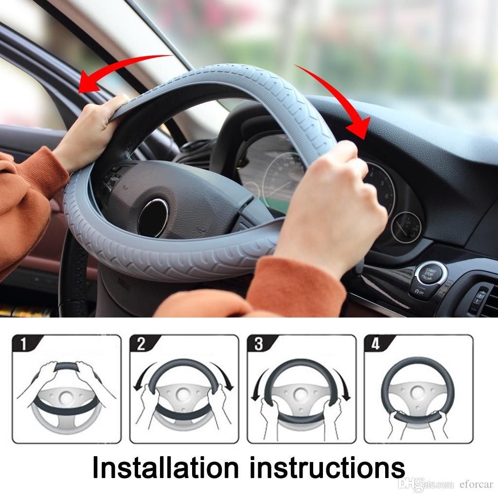 Natural Silicone Steering Wheel Cover Universal Soft Skidproof Shell Protector for Vehicle Steering wheel