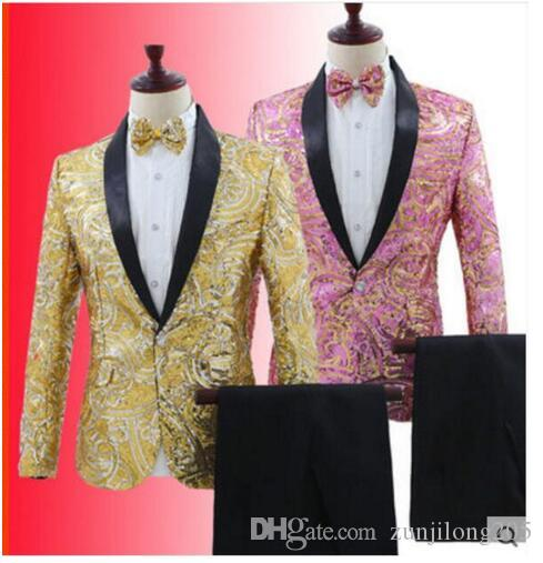 080d7eaa7 Sparkly Sequins Pattern Blazer Trousers Wear 2 Colors Men s Slim Suit Set  Nightclub Bar Host Clothes Men Singer Team Show Outfit